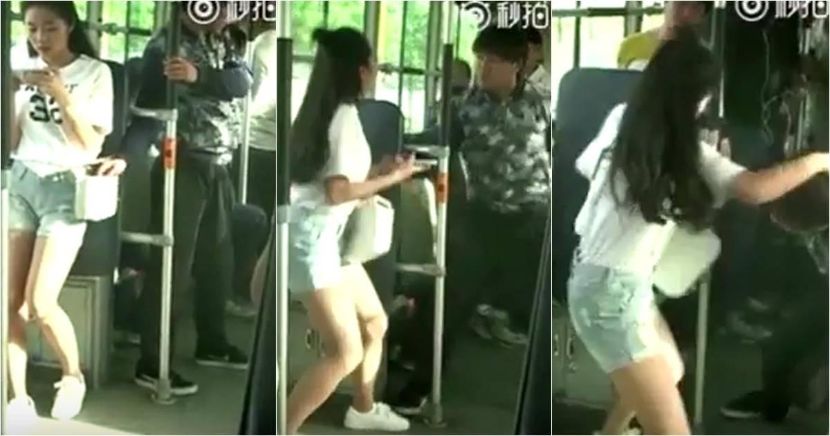 เด็ดดวง โจรล้วงกระเป๋าเด็กสาวบนรถเมล์ เจอถีบยอดหน้าจนร่วง (ชมคลิป)