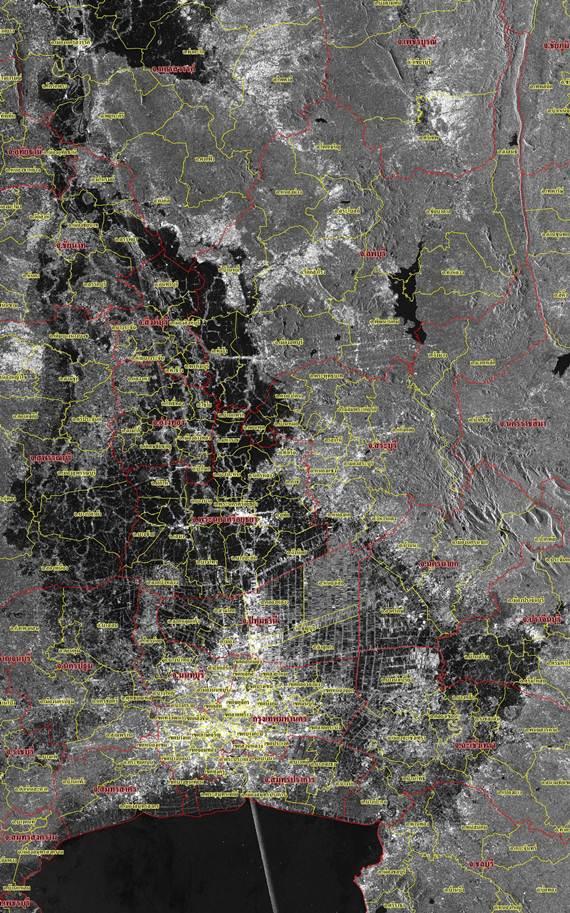 ภาพถ่ายดาวเทียมน้ำท่วม