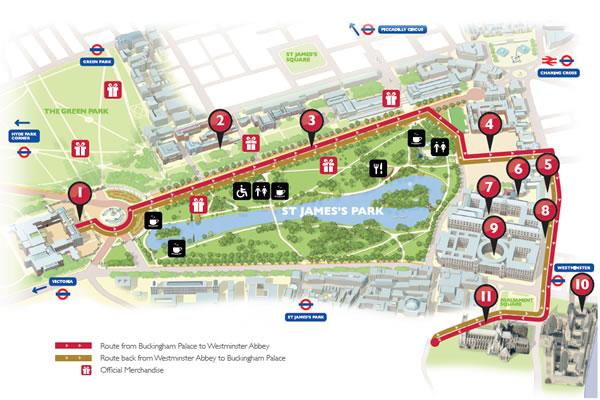 แผนที่เส้นทางที่ขบวนรถม้าพระที่นั่งจะเคลื่อนผ่าน