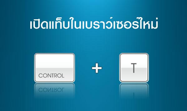 เปิดแท็บในเบราว์เซอร์ใหม่  >> Ctrl + T
