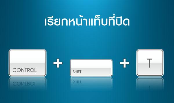 เรียกหน้าแท็บที่ปิด  >> Ctrl + Shift + T