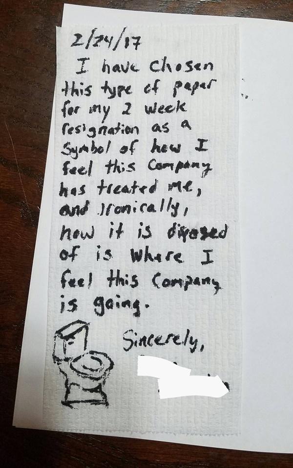 หนุ่มฉุนเขียนใบลาออกใส่กระดาษชำระ ไล่บริษัทลงชักโครกไปซะ