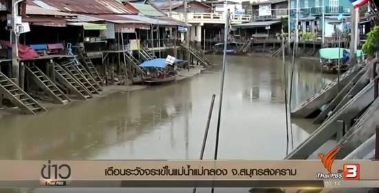อัมพวา ประกาศเตือนระวังจระเข้ในแม่น้ำแม่กลอง หลังคนเห็นโผล่อาบแดด