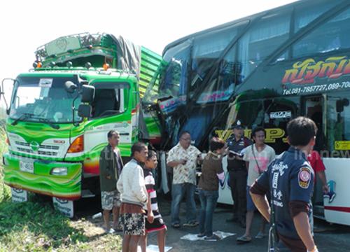 รถบัสนักเรียนคลองลานวิทยา ประสานงารถพ่วง ดับ 1 เจ็บ 34