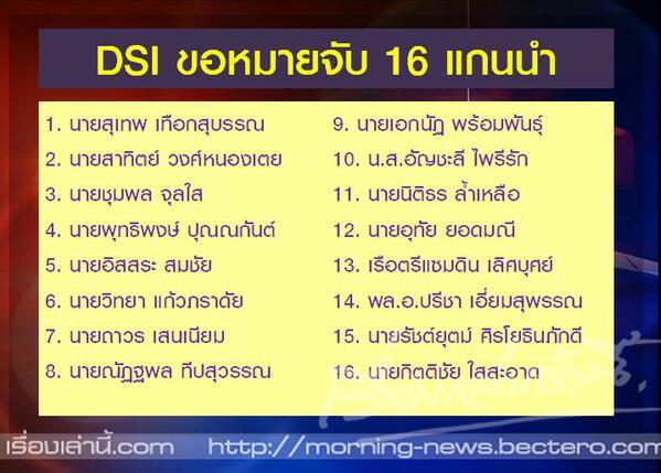ศาลนัดฟังคำสั่ง DSI ขอออกหมายจับ 16 แกนนำ กปปส. วันนี้