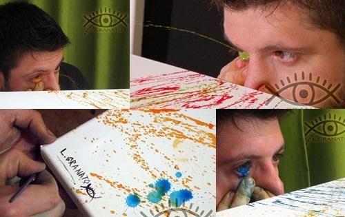 ดวงตาศิลปะ หนุ่มอาเจนฯ วาดภาพด้วยการพ่นสีออกมาทางตา !