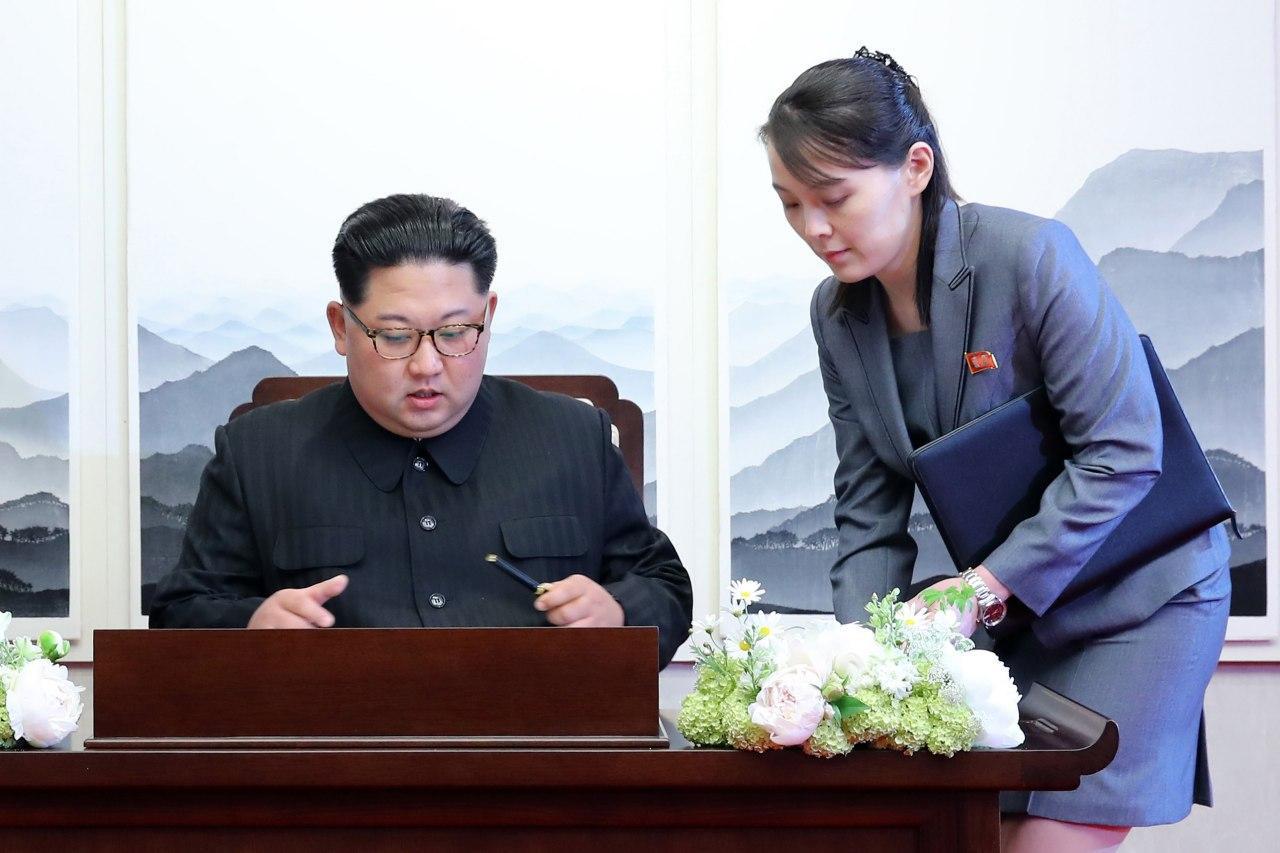 Ông Kim Jong Un và em gái Kim Yo Jong năm 2018. Ảnh: Korea Summit Press Pool.