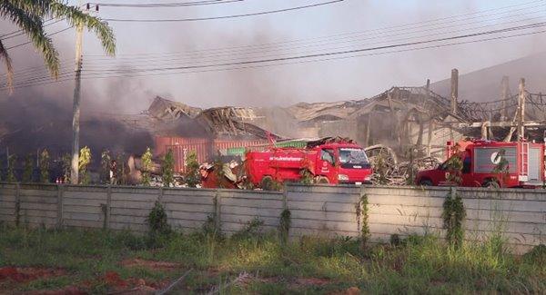 ไฟไหม้โรงงานผลิตถุงมือยาง