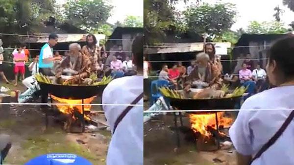 ชาวบ้านจี้ตรวจสอบคลิปฤาษีนั่งไฟทำยานวดสมุนไพรขาย อ้างรักษาโรคได้