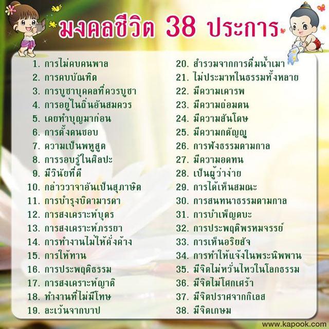 มงคลชีวิต 38 ประการ