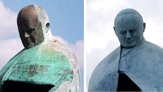 วิจารณ์! รูปปั้นพระสันตะปาปาจอห์นปอลที่ 2 เหมือนตู้เย็น