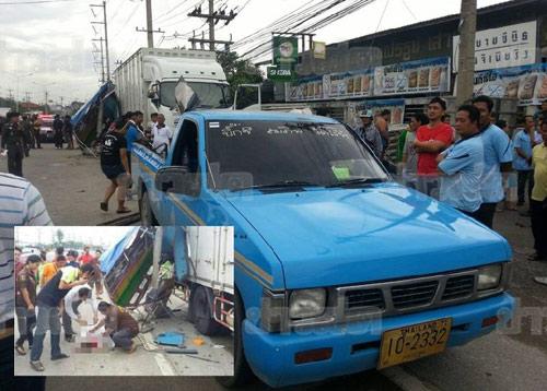 รถสองแถวนักเรียนชนท้าย 10 ล้อ จอดเสียข้างทาง มีเด็กเสียชีวิต