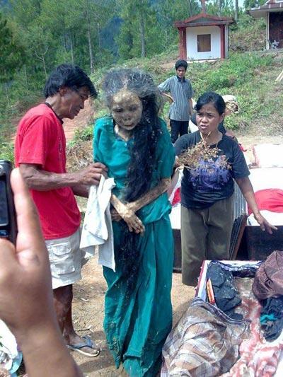 เผยพิธีศพแปลก ปลุกศพให้เดินได้ในอินโดนีเซีย