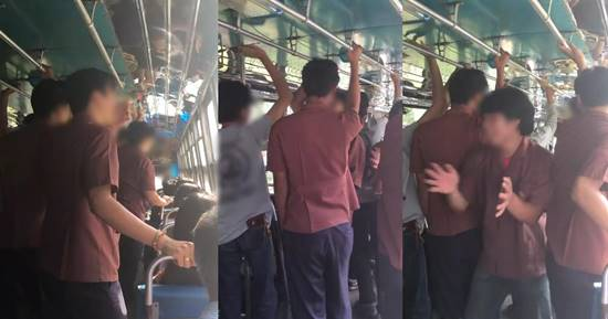 กลุ่มนักศึกษาอาชีวะ ร้องเพลงดังลั่นรถเมล์